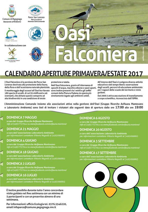 Calendario delle aperture domenicali dell'Oasi Falconiera