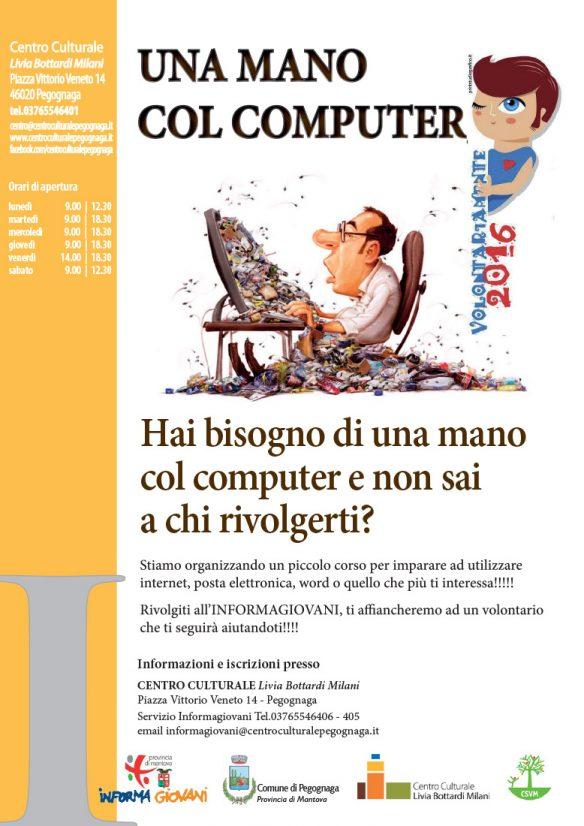 Una mano col computer