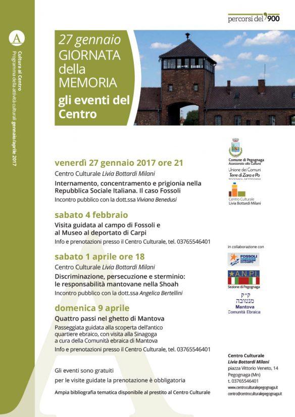 27 gennaio 2017. Giorno della memoria. Pegognaga (Mn) - Gli eventi del Centro Culturale Livia Bottardi Milani