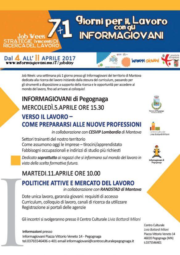 Job Week una settimana 1 giorno presso gli Informagiovani del territorio di Mantova dedicata alla ricerca del lavoro. Dal 4 all'11 aprile 2017 - Pegognaga