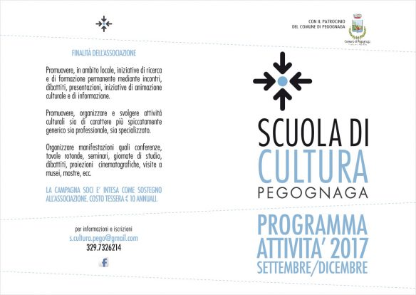 Scuola di Cultura. Programma settembre - dicembre 2017